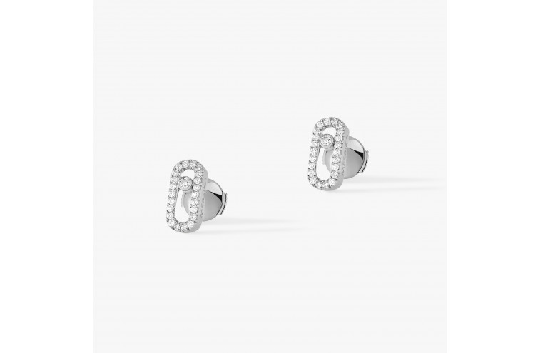 Boucles d'oreilles Messika Move Uno Pavée Or blanc 05634-WG