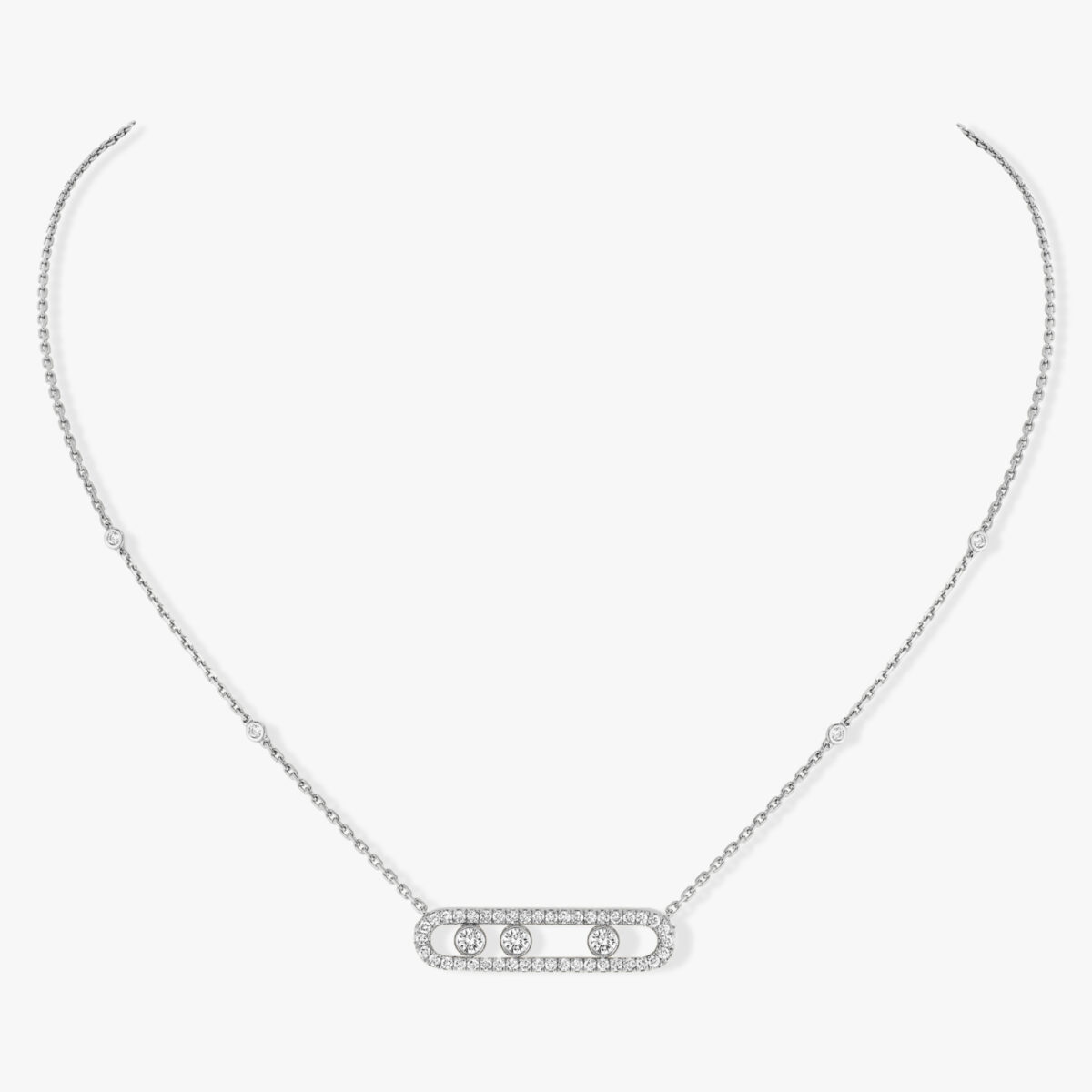 Collier Messika Move Pavé Or Blanc 03994-WG