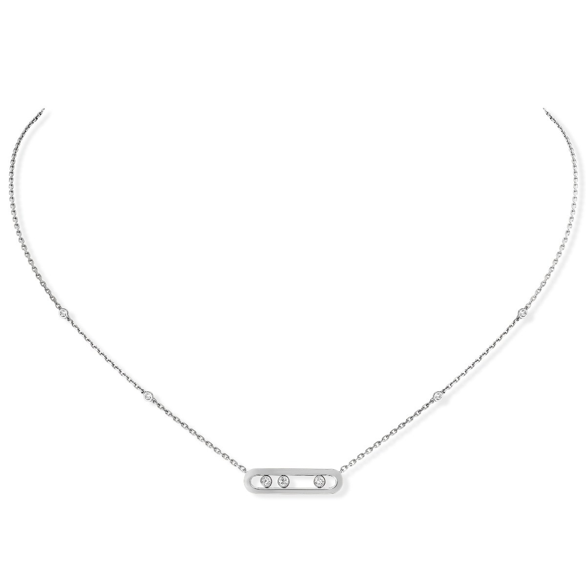 Collier Messika Baby Move Or blanc 04323-WG